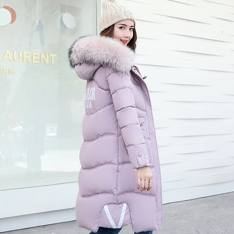 2017New Fashion Winter Slim Plus Size Cotton Jacket Long Thick Wadded Clothes Hooded Coat Letter Fur Collar Parkas Women Outwear 2017 new winter jacket women long slim large fur collar hooded down cotton parkas thick female wadded coat plus size 4xl cm1373
