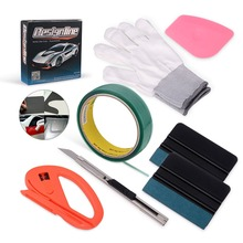 FOSHIO 50M Vinyl Car Wrap Knifeless Tape Design Line+Car Sticker Film Wrapping Squeegee Cutter Gloves Tools Kit Auto Accessories
