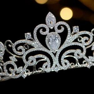 Image 3 - Classic love European zirconia tiara nupcial corona de cristal chapado vestido de novia con la novia accesorios para el cabello