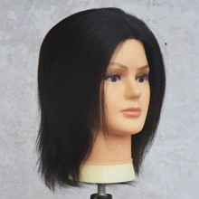 Male Hair Mannequin Heads Cosmetology Manikin Training Head with 100% Human