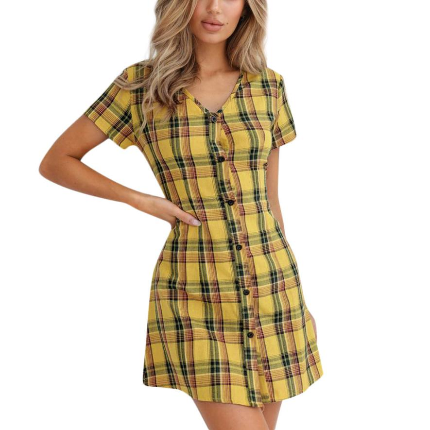 2018 Casual Women Vintage V Neck Button Gingham Dress with Ruffle Short Sleeves Gingham V Neck Mini Dress Elegant Daily Dess Fem