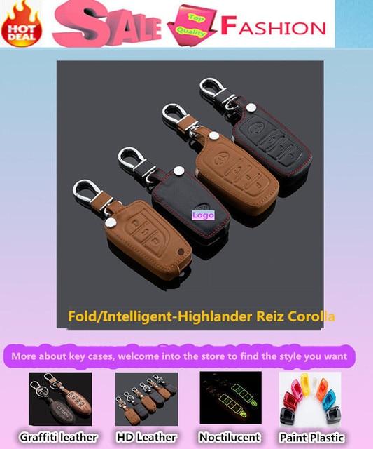 De coches de estilo cubierta de Cuero de vaca bolsa casos claves Remoto inteligente/plegable especial para Highlander Reiz Corolla
