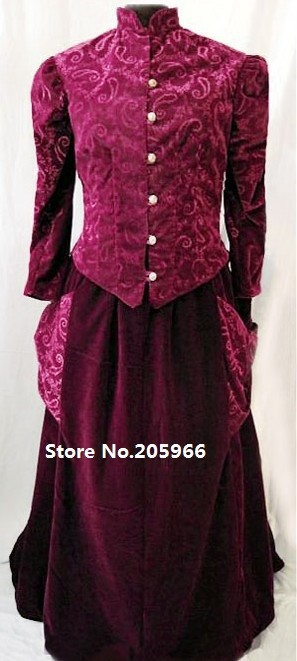 Fress Shipping Red Masquerade Long Trumpet Sleeves Victorian Dress/Party Dresses