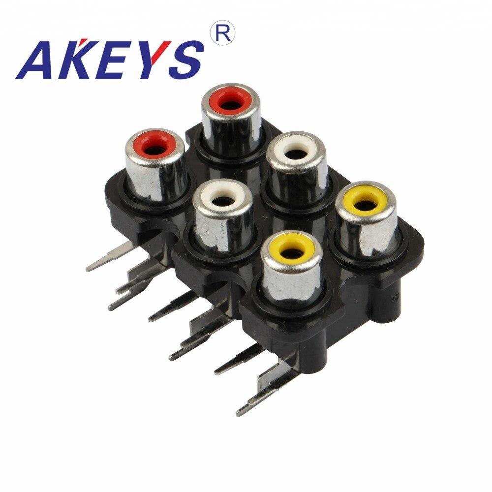 10PCS AV6-8.4-07 250V Multiple Plug Socket 6holes Normal Av Socket With Screened RCA