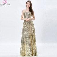 Luxury Grace Karin A Line Sequin Strapless Long Pageant Vestidos Wedding Party Dresses Formal Celebrity Dress