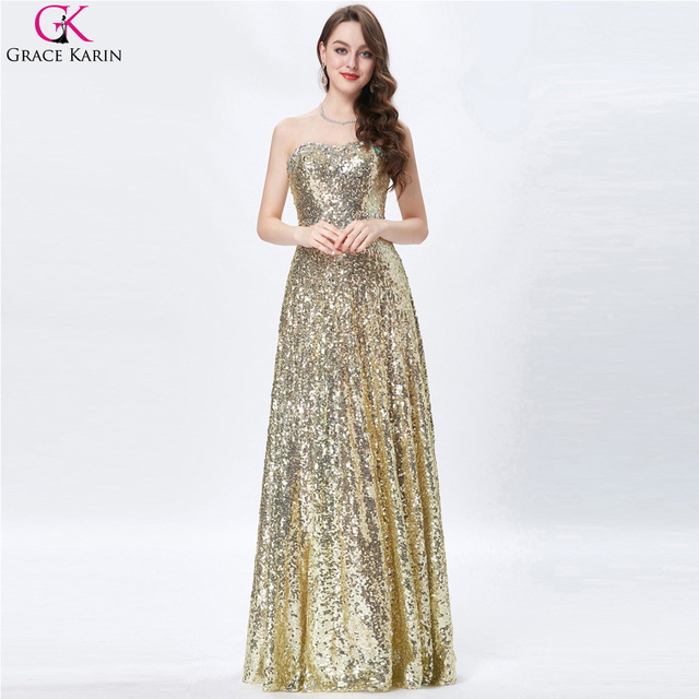 f5c95630dbee Grace Karin Celebrity Dress Red Carpet Dress Strapless Glitter Elegant Long  Formal Gowns Gold Sequin Evening Party Prom Dresses