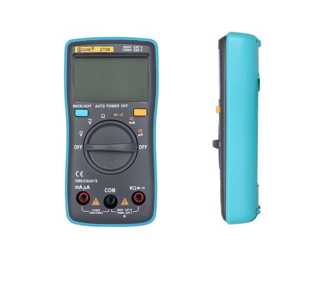 ZT98  LCD Screen Digital Multimeter 2000 counts Backlight AC/DC  Current  Ammeter Voltmeter  Ohm Portable Meter voltage meter