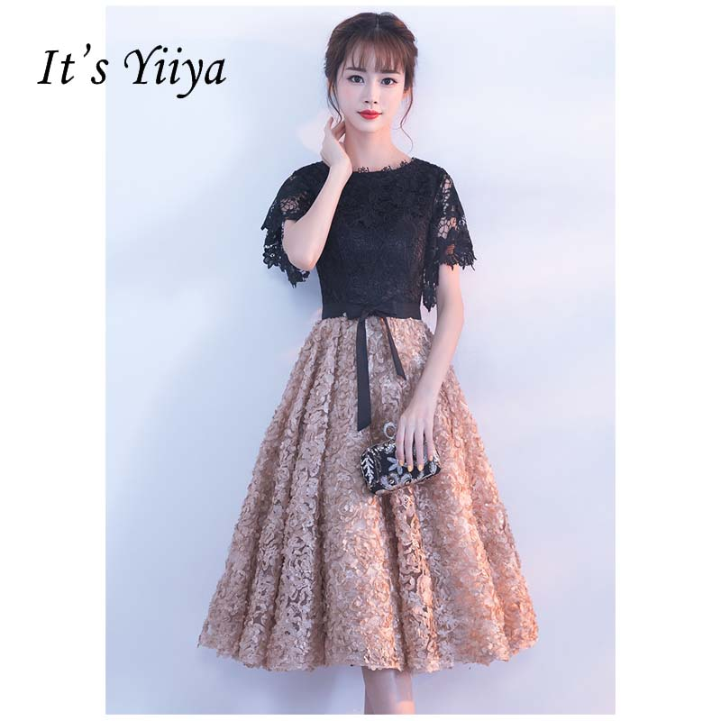 It's YiiYa O-neck Chiffon Flowers Floral Appliques Tea Length Bow Bridesmaids Dresses Zipper Illusion Short Formal Dress YS030