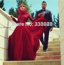 2016 Muslim Evening Dresses A-line Long Sleeves Appliques Chiffon Scarf Islamic Dubai Abaya Kaftan Long Evening Gown Prom Dress