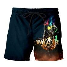 Men Summer marvel Avengers Endgame 3D Print Casual Shorts Thanos iron man Beach Fitness elastic slim Skull Sports Pants 1