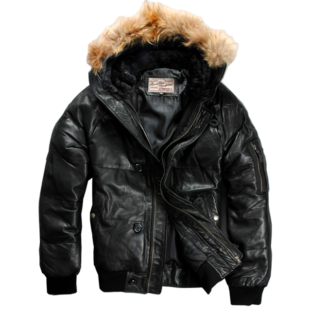 mens genuine sheep leather down jacket warm sheep skin winter leather jacket