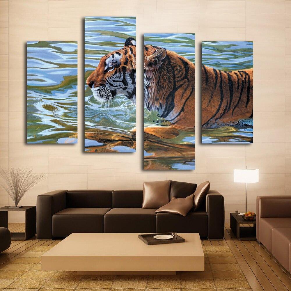 Toile impression tiger art décoration mur photo sur salon création populaire