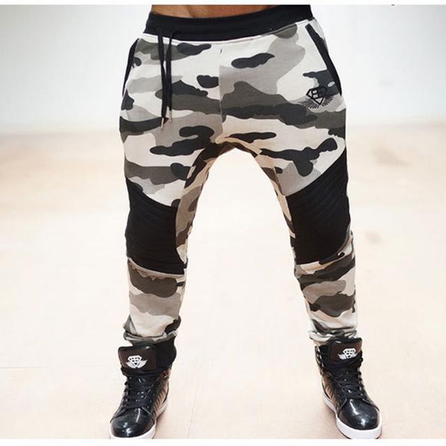 Calças Dos Homens Corredores camuflagens 2016 Marca Masculina Calças Dos Homens Calça Casual Calça de Moletom Basculador