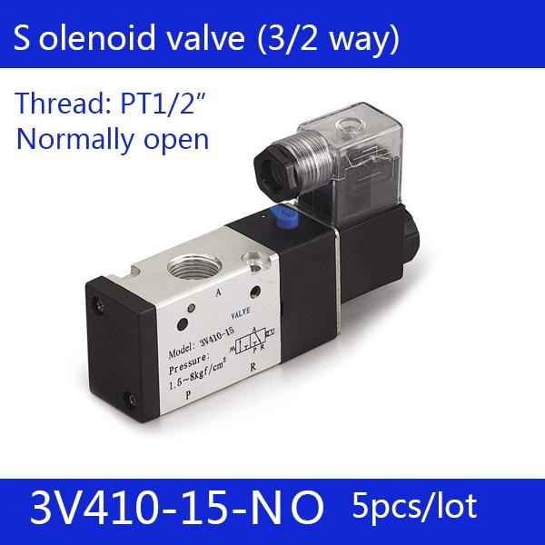 5PCS 3V410-15-NO  Pneumatic valve solenoid valve Normally open DC24V AC220V,1/2 , Free s3 port 2 position 3/2 way
