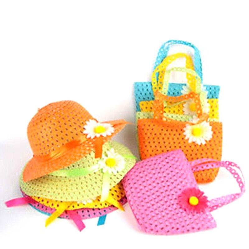 Mädchen Kinder Strand Hüte Taschen Blume Strohhut Cap Tote Handtasche Tasche Anzug Kinder Sommer Sonnenhut