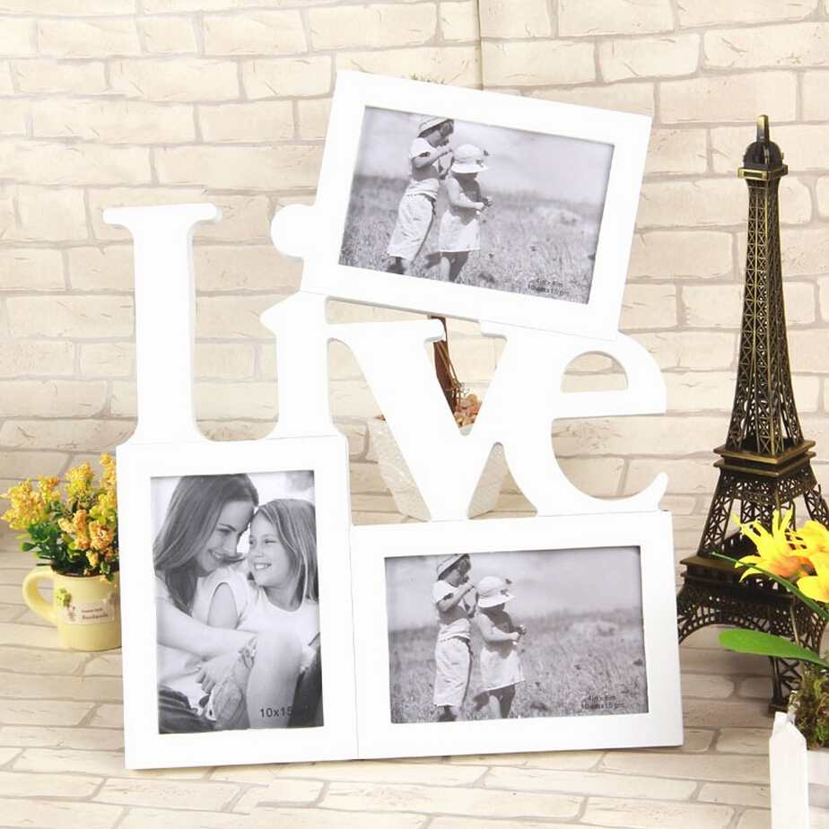 Photo Frame 3 Boxes Love And Live Family Photo Frame Father Mother And Kids Home Decor Hanging On The Wall Free Drop Shipping