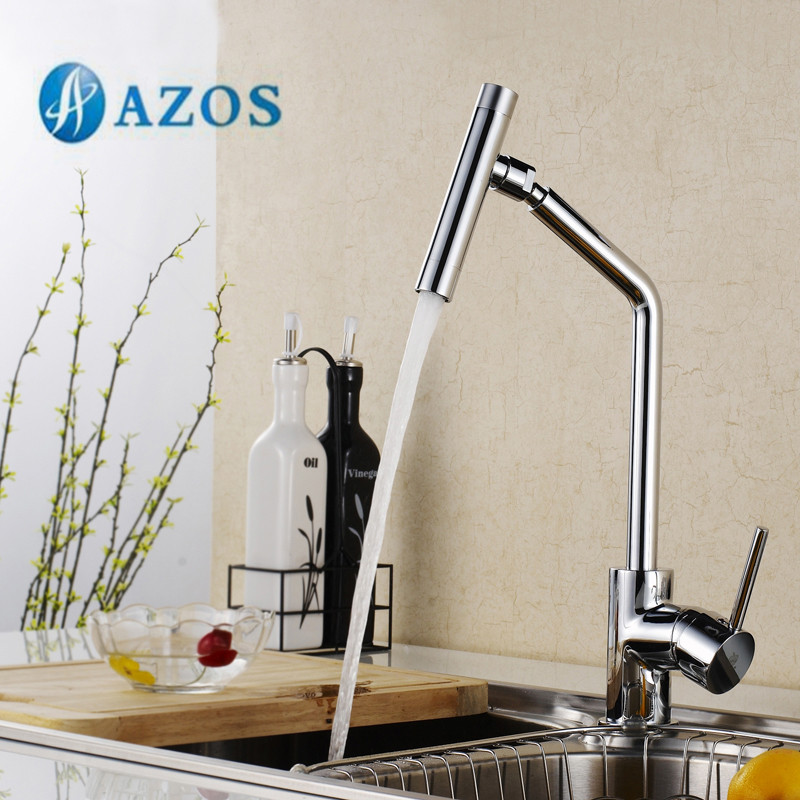 AZOS Kitchen Sink Tap Brass Single Hole Deck Mount Chrome Polish Hot Cold Water Mixer Washing Furnitures Pull Out Spout CFLR049 kitchen chrome plated brass faucet single handle pull out pull down sink mixer hot and cold tap modern design