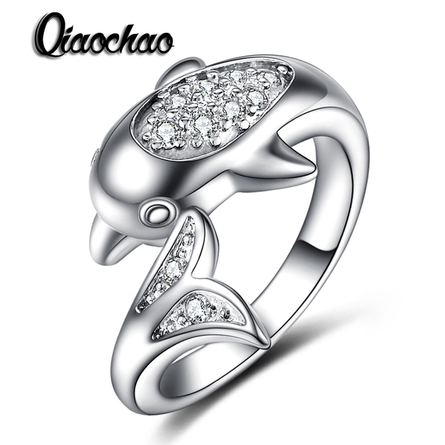 925 Sterling Silver jewelry Dolphin Ring AAAAA Level CZ wedding