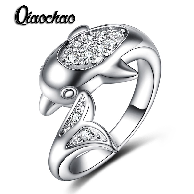 925 sterling silver jewelry dolphin ring aaaaa level cz wedding band engagement rings for women girls - Dolphin Wedding Rings