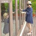Семья установлены Отцовство повседневная Holiday beach платье Короткая юбка мать дочь Девушки темно-Синий Хлопок с длинным рукавом винтаж платье