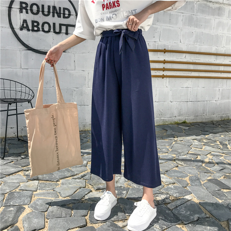 19 Women Casual Loose Wide Leg Pant Womens Elegant Fashion Preppy Style Trousers Female Pure Color Females New Palazzo Pants 52