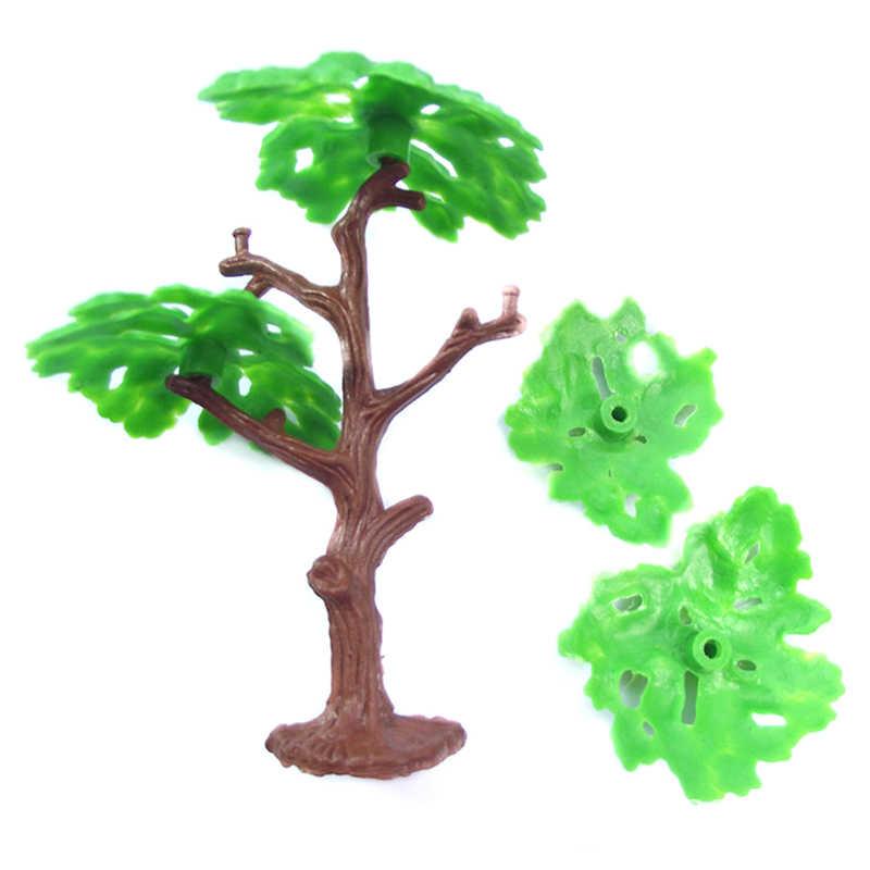 2 sztuk z tworzywa sztucznego model architektoniczny drzewa pejzaż z pociągiem krajobraz Park kolejowy sosna zestawy do budowania zabawki dla dzieci