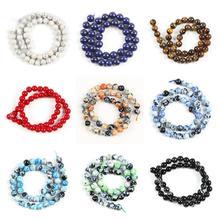 6 8 10mm Natural Stone Beads for jewelry making Diy Bracelet Lapis lazuli Tiger Eye Howlite Beads Round loose Beads Wholesale