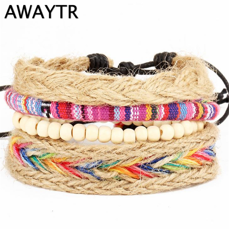 AWAYTR Nepal Colorful Beaded Multilayer Handmade Hemp Rope Woven Bracelet for Women Ethnic Style Embroidery Cotton