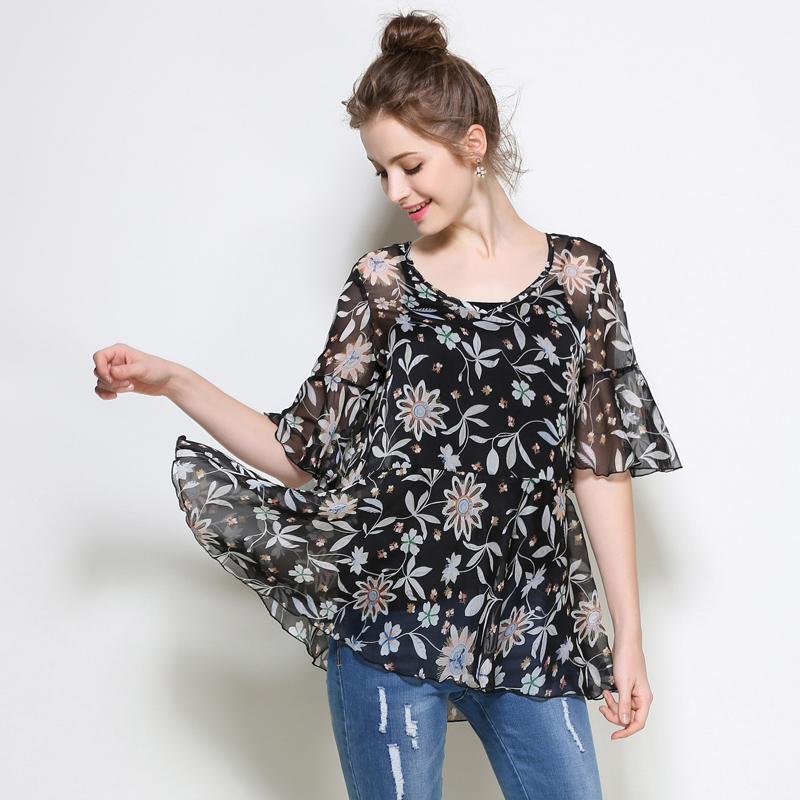 5xl women chiffon blouses shirts plus size 2017 new office lady fashion brand flower print flare