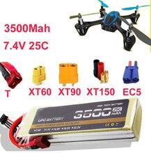 Alta taxa de bateria LIPO 2 s 25c 7.4 v 3500 mah li-bateria li-poly 25C drone aircraft baixa resistência fpv bateria recarregável