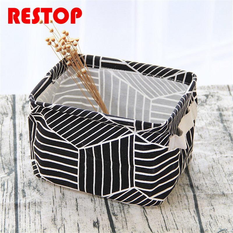 ZAKKA Eruope Style Geometry Cotton Linen Desk Storage Box Holder Jewelry Cosmetic Stationery Toys Organizer Case RES642