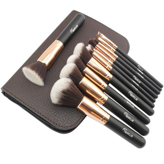 Professional Makeup Brush Flat Top Kabuki Make Up Brushes Foundation Eyeshadow Concealer Eyeliner Brush Tool Maquiagem 11pcs/set