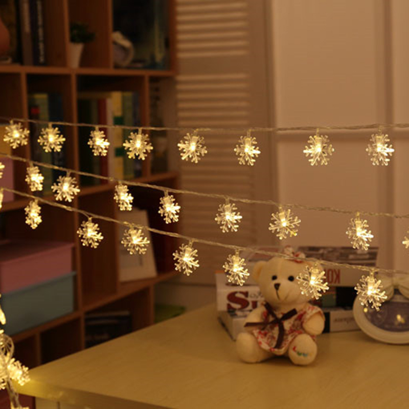 quadruple battery 30leds snowflake led christmas string lights for garden home decor wedding party garland decorations