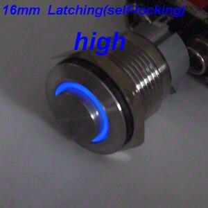 1 шт. 16 мм/19 мм/22 мм металлический кнопочный переключатель из нержавеющей стали с подсветкой кольцо LED 12В/24В фиксация фиксированная Блокировка с Высокой Головкой макс. 10А