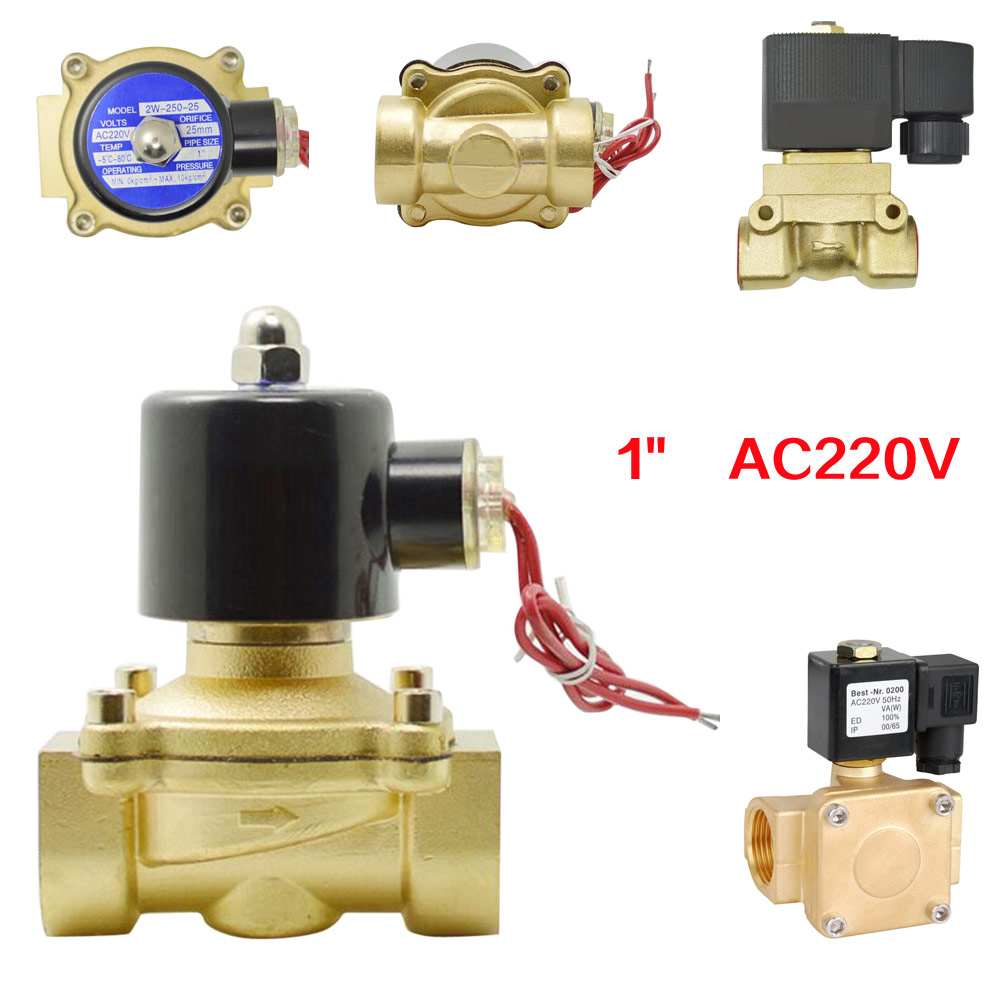 Electric Solenoid Valve Water Air Fuel Solid Coil N/C AC 220V Alloy Body  Electric Solenoid Valve 220v ac electric solenoid valve water air n c gas water air fuel solid coil
