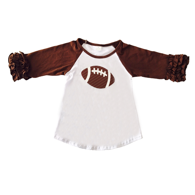 Wholesale Cotton Brown Raglan Shirts Ruffle Sleeve Baby Girls Tees Football Time Girls Icing Tops Girls Icing Raglan T-shirt letters snowflake print raglan sleeve t shirt