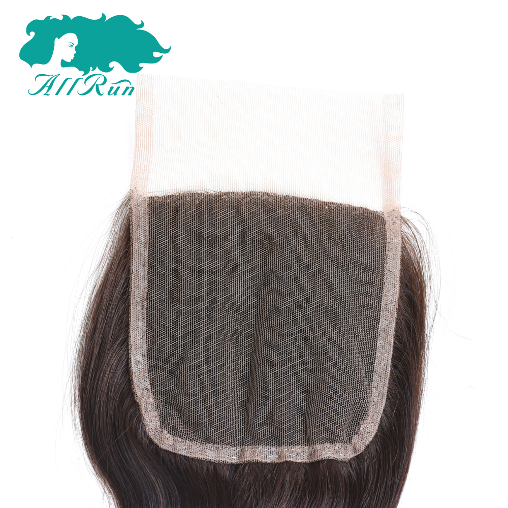 Allrun Pre-Colored A Piece Peruvian Body Wave Lace Closure Hair 4*4 2# 100% Human Hair Non-Remy