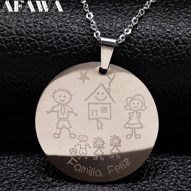 2019 Family Stainless Steel Necklaces for Women Silver Color Dad Mom and Two Girl One Boy Necklace Jewelry Gift joyeria N17954