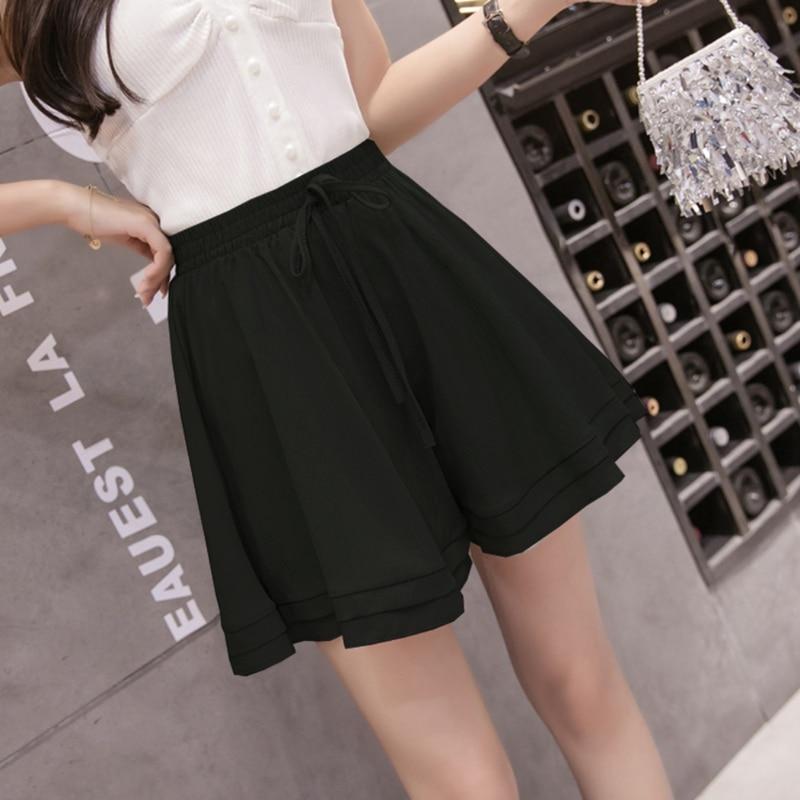 Ladies Drawstring Pleated Shorts Fashion Ruffled Loose Summer Shorts