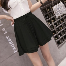 Ladies Drawstring Pleated Shorts Fashion Ruffled Loose Summer Shorts black pleated design drawstring waist shorts