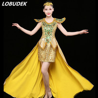 Women Teams Jazz Costume Modern dance Outfit Adult Women DS sexy stage performance clothes Gold Sequins One Piece Trailing dress