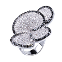 Flower Black And White Ring White Gold Plated Cubic Zirconia CZ Lastest Designs New Fashion Jewelry