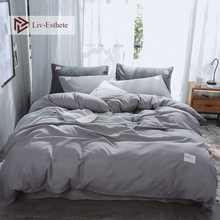 Liv-Esthete Light Gray Luxury Bedding Set Soft Home Duvet Cover Flat Sheet Double Queen King Adult Bed Linen Bedspread As Gift