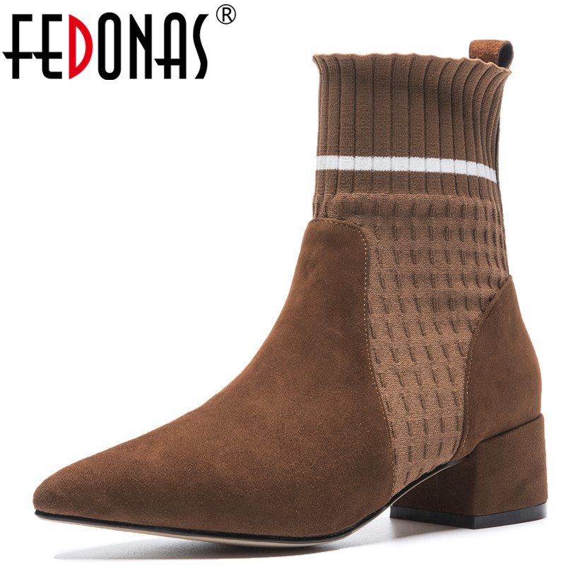 FEDONAS 1Fashion Women Ankle Boots Pointed Toe Elegant Suede Leather High Heels Shoes Woman Autumn Winter Warm Brand Basic Boots elegant women low high heels ankle boots pointed toe patchwork autumn winter shoes woman basic motorcycle boots dr b0038