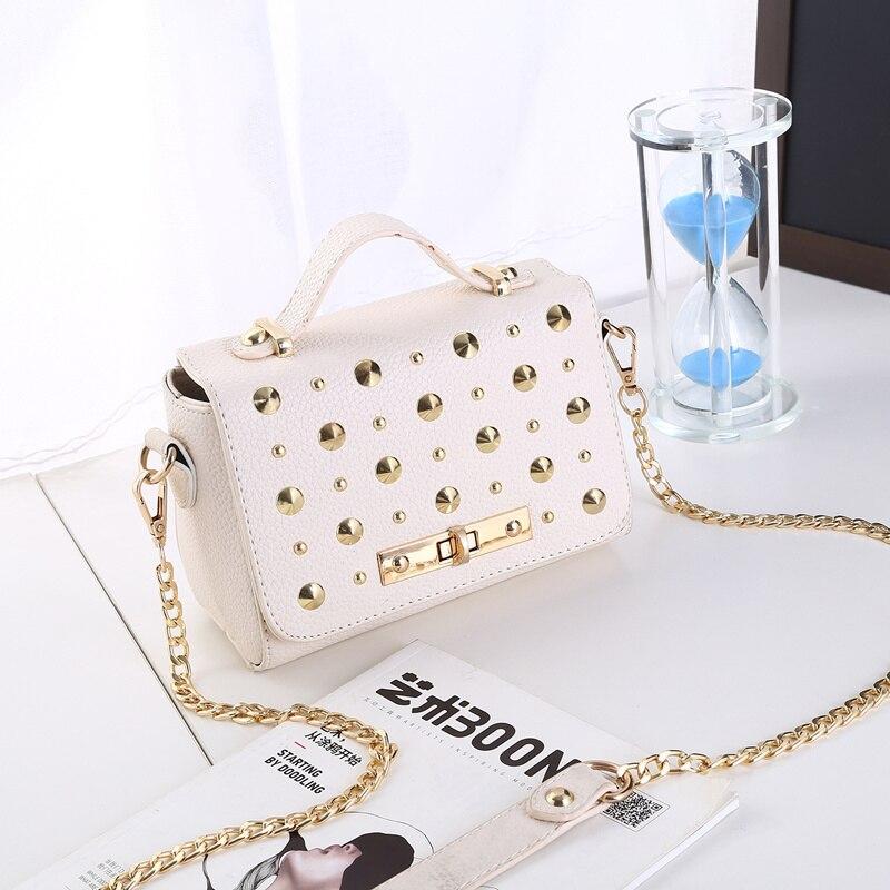 Elegant Mode Beige PU Women Lady Shoulder Bag Small Rectangle Handbag Crossbody Messenger Rivets Decoration Ajustable Straps