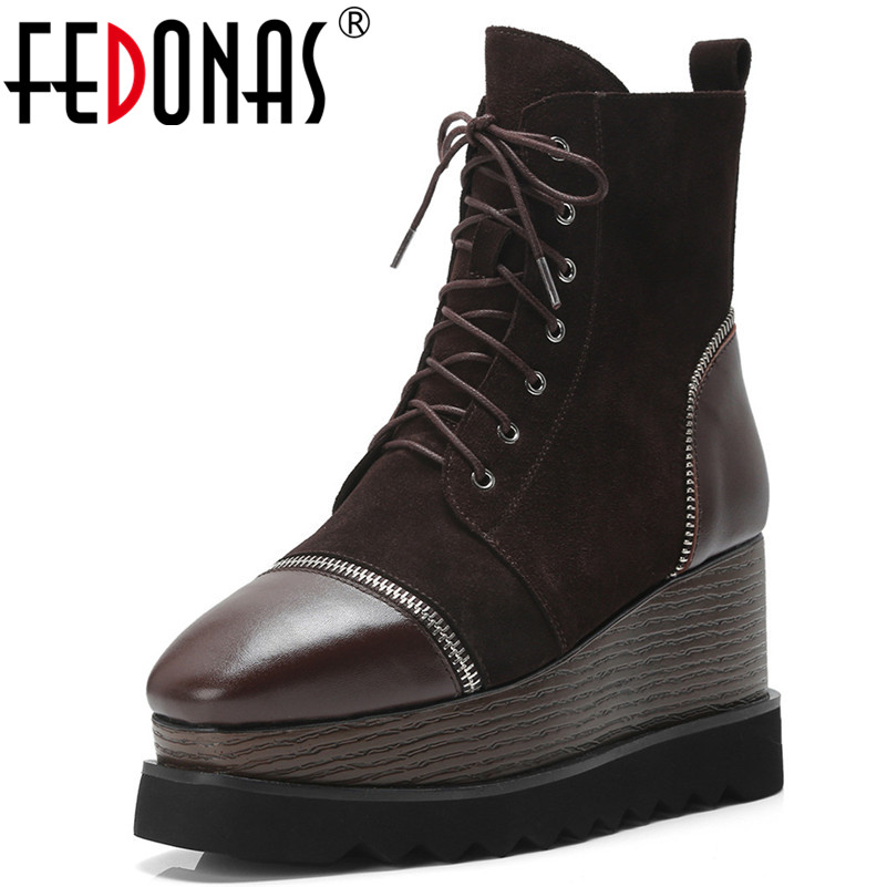 FEDONAS New Women Punk Retro Martin Shoes Woman Wedges High Heels Corss-tied Autumn Winter Ankle Boots Ladies Platforms Shoes fedonas new warm autumn winter snow shoes woman high heels zipper short martin boots retro punk motorcycle boots 2019 new shoes