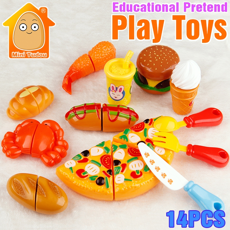 Minitudou 14 unids/set niños pretend Juguetes pizza hotdog Ice Cream ...