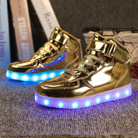 2016 Men Womens 7 Colorful Led Casual Shoes High Tops Leisure Simulation Party Chaussure Femme Usb