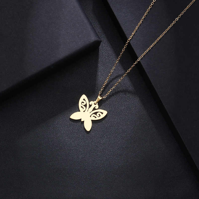DOTIFI Stainless Steel Necklace For Women Man Lover's Tattoo Butterfly Gold And Silver Color Pendant Necklace Engagement Jewelry