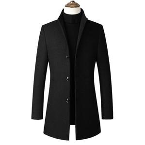 Image 5 - Kış yün ceket erkekler yüksek kaliteli yün ceket rahat ince yaka yün ceket erkek uzun pamuklu yaka trençkot